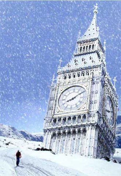 El Big Ben del Parlamento de Londres, caído bajo la nieve.