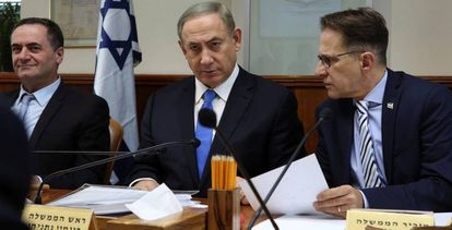 El primer ministro israelí, Benjamín Netanyahu, en la reunión del Gobierno del día 4.