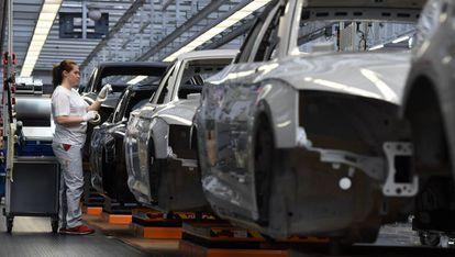 Cadena de montaje de Audi en Alemania.