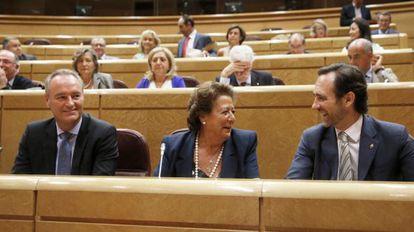 Alberto Fabra, Rita Barberá y José Ramón Bauzá (PP) en el Senado.