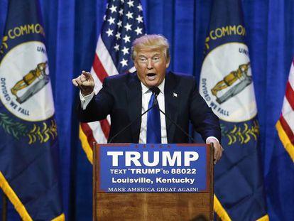 Donald Trump durante su mitin en Kentucky en marzo de 2016.