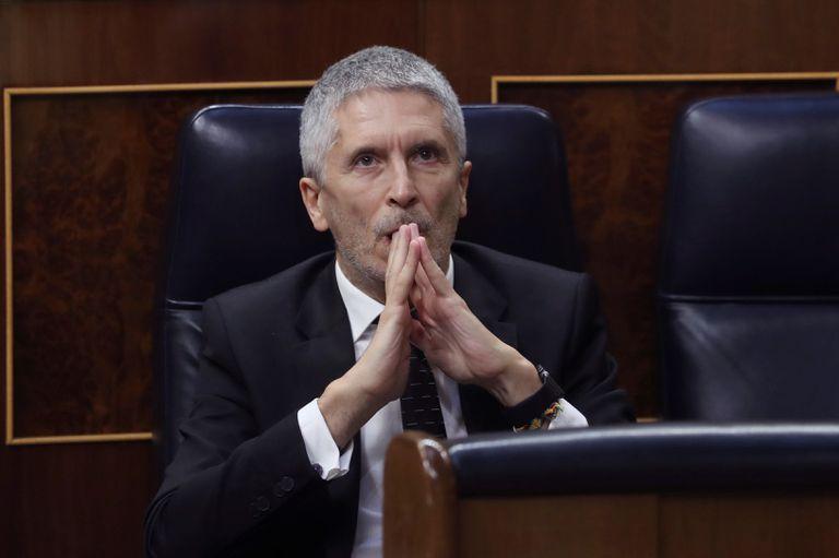 El ministro del Interior, Fernando Grande-Marlaska, durante el pleno del Congreso de ayer.
