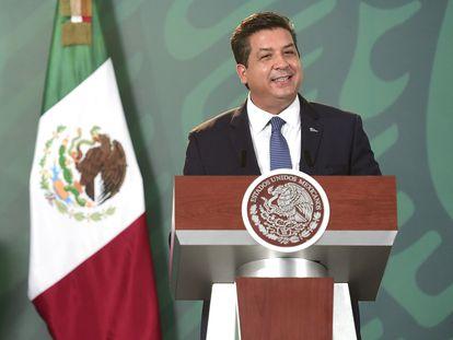 El gobernador de Tamaulipas, Francisco García Cabeza de Vaca, en una conferencia en Reynosa (Tamaulipas) en agosto de 2020.