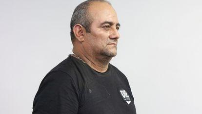 Dairo Antonio Úsuga, 'Otoniel', líder del Clan del Golfo, es fotografiado en Bogotá luego de su captura, el 23 de octubre de 2021.