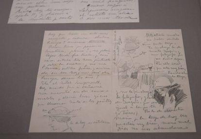 Una de las cartas de Sorolla con varios modelos de sombreros dibujados.