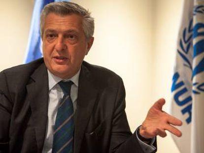 El Alto comisionado de la ONU para los refugiados, Flippo Grandi, durante la entrevista