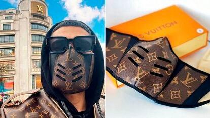 Mascarilla falsa de Louis Vuitton que está a la venta en Internet.