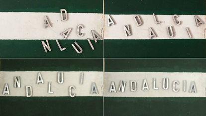 """Poema visual """"Andalucía, hay que armarla"""", de Juan de Loxa."""