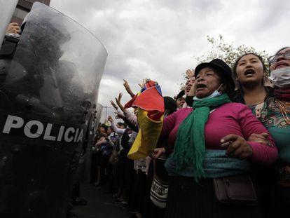 Manifestación contra Lenín Moreno en Ecuador este viernes.