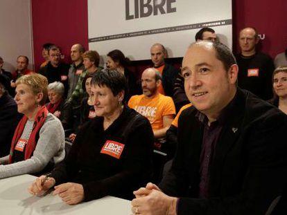 Los imputados en el sumario 04/08 en la rueda de prensa que han ofrecido este jueves en San Sebastián.