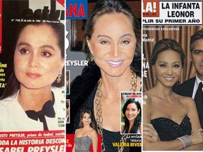 Distintas portadas de revistas del corazón en las que se muestra la evolución de la imagen de Isabel Preysler al cabo de los años.