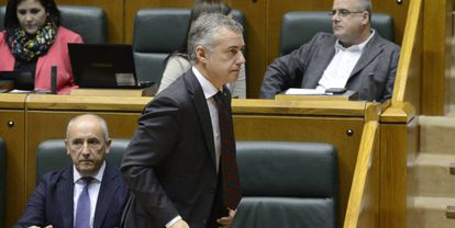 Iñigo Urkullu durante el pleno del Parlamento vasco.