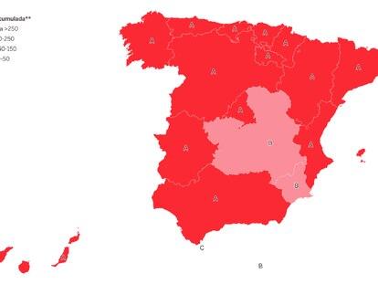 El mapa de las restricciones por la covid en España y la incidencia acumulada en cada comunidad