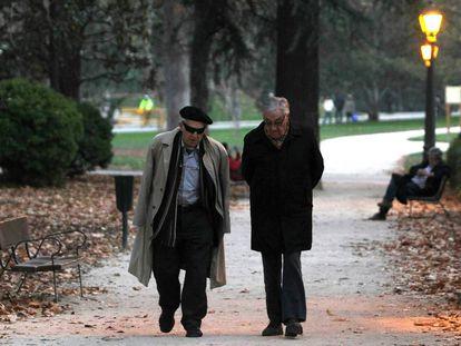 Dos hombres en el Parque del Retiro en Madrid