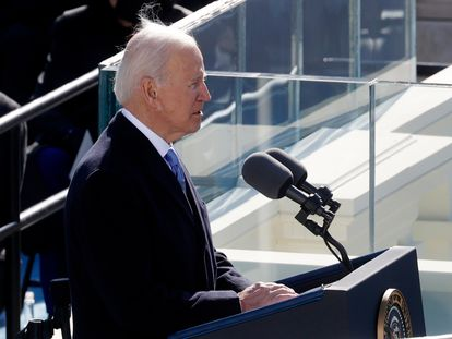 U.S. President Joe Biden speaks after being sworn in during the inauguration of Joe Biden as the 46th President of the United States on the West Front of the U.S. Capitol in Washington, U.S., January 20, 2021. REUTERS/Brendan McDermid