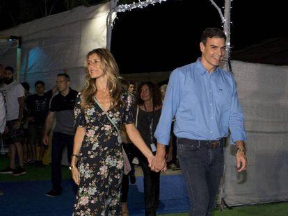 Pedro Sánchez y su esposa, Begoña Gómez, en las instalaciones del FIB el pasado 20 de julio.