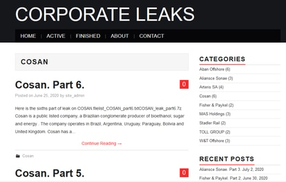Captura de la página de Corporate Leaks que muestra la publicación de datos de la empresa Cosan.