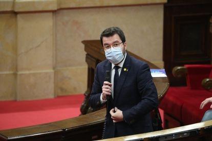 Pere Aragonès, en una imagen de archivo durante una sesión de control en el Parlament.