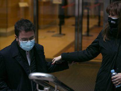 Pere Aragonès y Laura Borràs, el 15 de febrero, día después de los comicios en Cataluña.