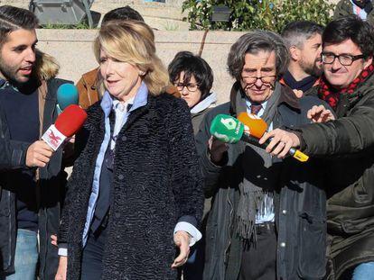 Esperanza Aguirre, en la Audiencia Provincial de Madrid, este lunes.