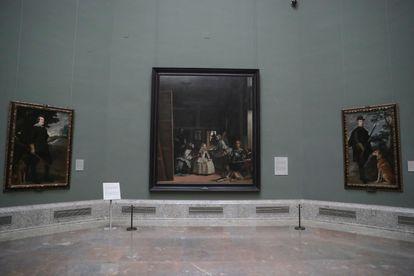 Sala de Velázquez, presidida por 'Las Meninas', vacía este jueves en el Museo del Prado.