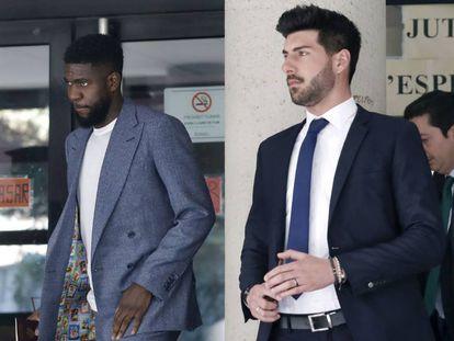 El defensa del Barcelona, Samuel Umtiti, a la salida de los Juzgados de Esplugues de Llobregat.