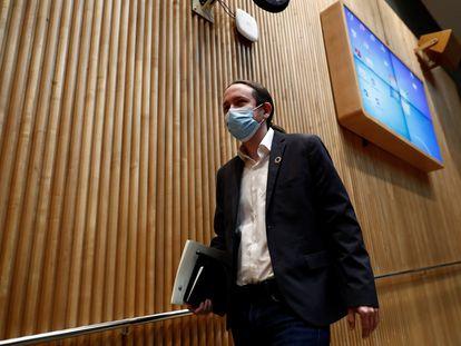 Pablo Iglesias, este jueves, en el Congreso de los Diputados.
