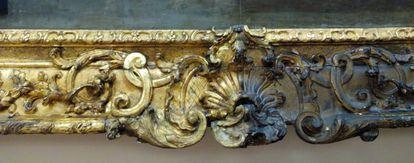 Diferencia del estado dorado del marco una vez intervenido y oscuro, sin limpiar.