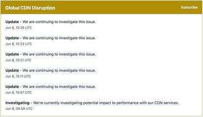 Captura del goteo de actualizaciones de Fastly sobre el incidente