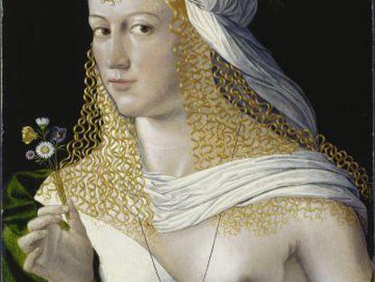 'Retrato de mujer', de Bartolomeo Veneto, supuesta Lucrecia Borgia, que se exhibe en la muestra de Venecia.