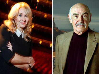 La escritora J. K. Rowling y el actor Sean Connery.