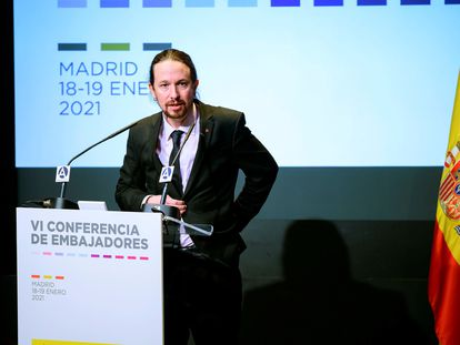 El vicepresidente segundo y líder de Podemos, Pablo Iglesias, durante su intervención el pasado martes en la reunión de embajadores de España organizada por el Ministerio de Asuntos Exteriores en Madrid.
