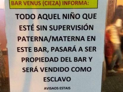 Cartel del bar Venus.