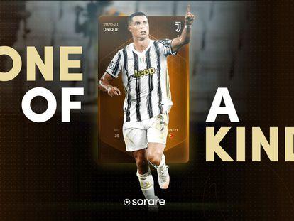 Cromo del futbolista de la Juventus, Cristiano Ronaldo, vendido por 289.920 dólares.