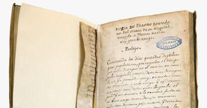 Ejemplar con la primera traducción al castellano del 'Elogio de la locura' (Museo Histórico Judío de Holanda)