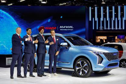 Los ejecutivos de Great Wall Motors en el Indian Motor Show.