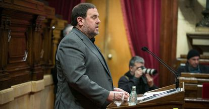 Intervencion del consejero de economia y hacienda, Oriol Junqueras en el Parlament.