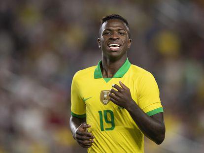 Vinicius durante un partido con la selección de Brasil, en 2020.