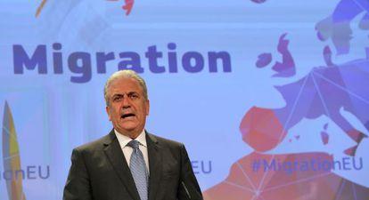 El comisario de Inmigración, Dimitris Avramopoulo, en Bruselas.