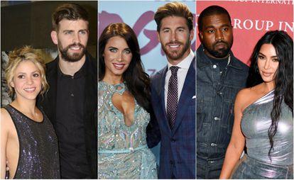 Shakira y Gerard Piqué; Pilar Rubio y Sergio Ramos y Kanye West y Kim Kardashian.