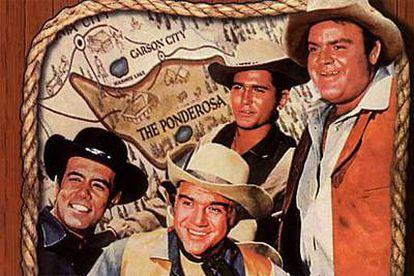 Actores de la serie <i>Bonanza</i>. Michael Landon, de pie, a la izquierda.