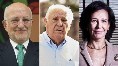 Juan Roig, Amancio Ortega y Ana Botín.