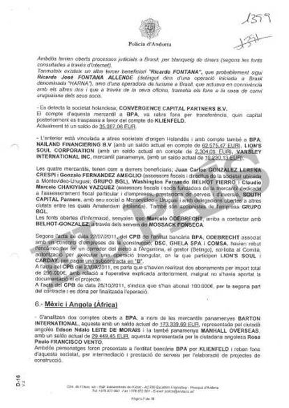 """Informe de la Policía de Andorra que vincula al exresponsable de la BPA en Uruguay, Andrés Norberto Sanguinetti, Betingo, con el pago de una comisión """"en B"""" en una obra de Argentina."""
