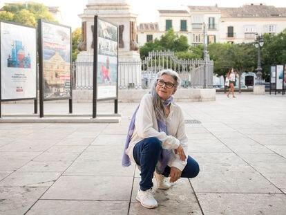 Kiti Mánver en la Plaza de la Merced, en Málaga, este domingo.