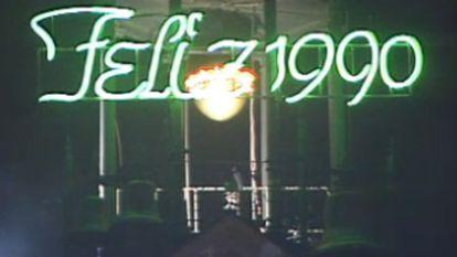 Un instante de la emisión de las campanadas de 1990 en TVE.