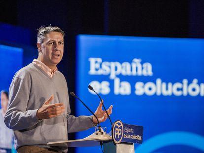 El coordinador general del partido y líder del PPC, Xavier García Albiol, en un acto de campaña en Salou.