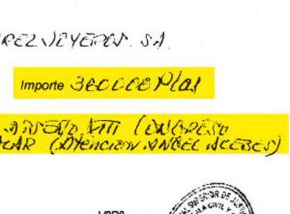 Anotación del regalo de un reloj a nombre de Ángel Acebes.