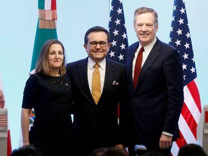 Chrystia Freeland (Canadá), Ildefonso Guajardo (México) y Robert Lighthizer (EE UU), en marzo pasado.