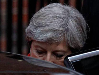 Theresa May, esta mañana, al abandonar el cuartel general de los conservadores en Londres.