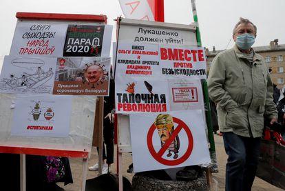 Protesta contra Lukashenko y en apoyo de los opositores, el 24 de mayo en Minsk.